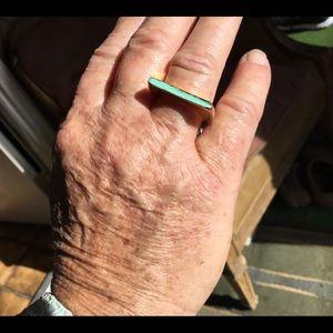 Kate spade gold tone ring with aqua